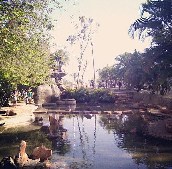 As águas termais de Caldas Novas são ótimas para relaxar e também se divertir. Foto de  Juan Franco, via Wikicommons.